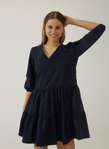 People By Fabrika Kadın V Yaka Katlı Poplin Elbise PFKSS21EL0056 Lacivert